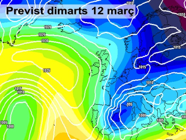 El fred tornarà la  propera setmana. L'oratge es mostrarà molt variable fruït del pàs de diverses borrasques que així mateix ens duran vent i fred.
