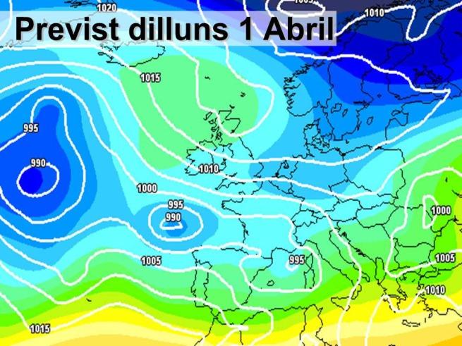 En la previssió per al dilluns de Pascua es preveu vent i oratge variable. Les borrasques viatjaran prop de les nostres terres.