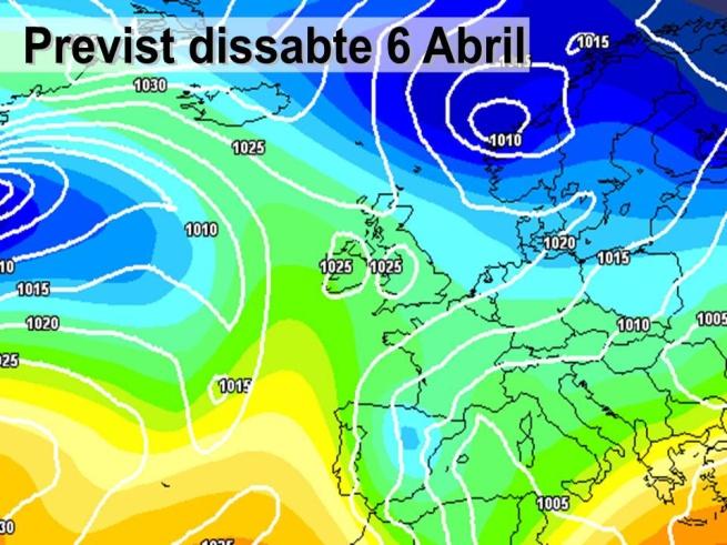 En la previssió per al dissabte es preveu com la borrasca (amb colors blaus) afectarà la part oriental de la península amb vents del NE.