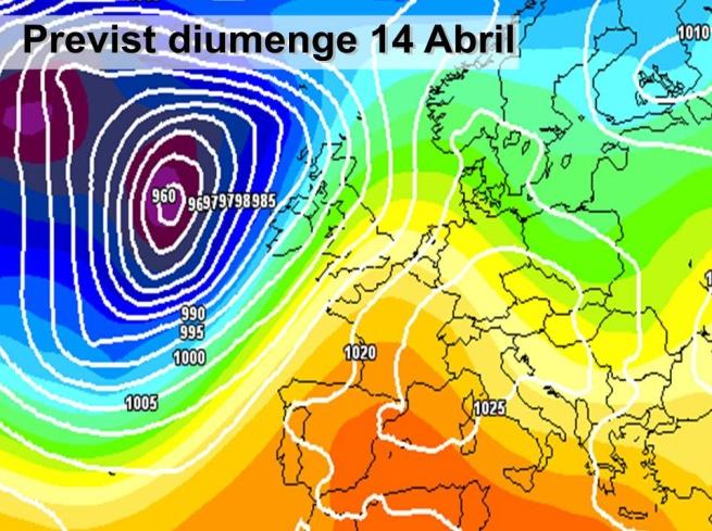En la previssió per al diumenge es preveu com l'anticicló afectarà tota la mediterrània  proporcionant un oratge estable amb sol i pocs núvols. A més hi ha una massa d'aire càlida a les capes més altes de l'atmosfera que deixarà unes temperatutres agradables.