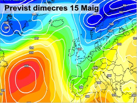 En la previssió per a la setmana vinent es pot vore com de nou la inestabilitat (colors verds) tornarà a afectar la major part de la península. També es de notar un descens de les temperatures.