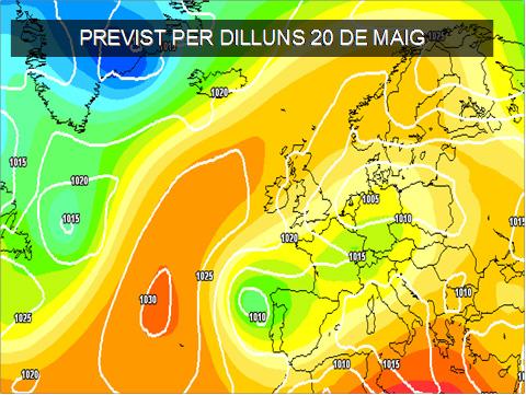 En la previssió per a la setmana vinent continuarà l'atmosfera mostrat simptomes de inestabilitat. A més caldrà vore que fà finalment la borrasca que es situarà a la zona del nort peninsular.