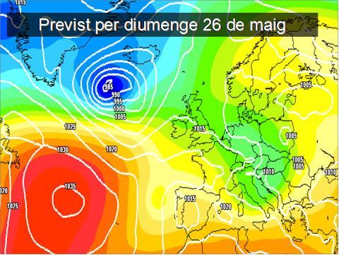 En la previssió per al diumenge, els models meteorològics continuen mostrant inestabilitat. El major risc de pluges quedarà concentrat cap a la meitat oest de la península.