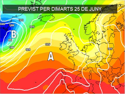 L'estiu començarà sense grans novetats. Sol i temperatures altes encara que més suaus cap al mediterràni.