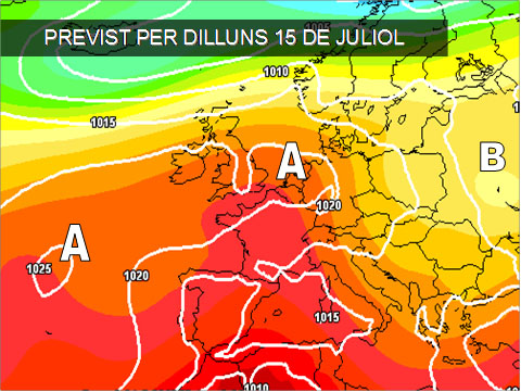 Els mapes del temps per a la propera setmana ens mostren com l'oratge serà estable i calorós. La masa d'aire calenta d'orige africà, (color roig), ens afectarà fent que les temperatures siguent caloroses.