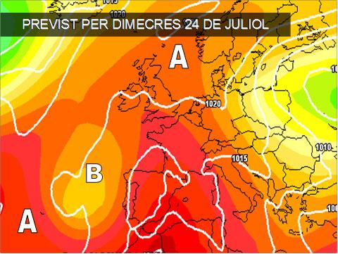 Els mapes del temps per a la propera setmana ens indiquen que la calor serà la protagonista, amb vents de ponent entre dimecres i dijous.