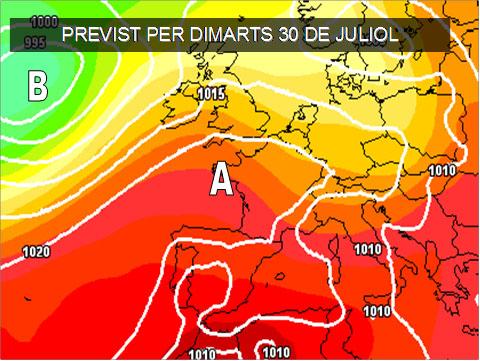 Els mapes del temps per a la propera setmana continuen parlant de calor i sequetat. No s'esperen pluges almenys per els primers dies de l'agost.
