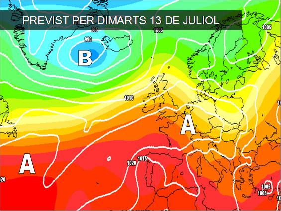 Els mapes del temps per a la propera setmana ens anuncien pocs canvits. La calor serà la nota destacada a la major part del país.