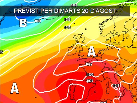 Els mapes del temps per a la propera setmana podem vore com l'anticicló ens afectarà i ens donarà un oratge estable, amb calor destacada al centre i sud de la península.