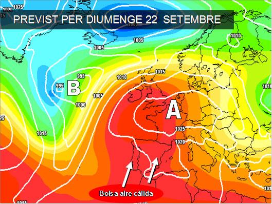 Els mapes del temps per a la propera setmana ens mostren com persistirà la estabilitat en la península, amb l'entrada d'una masa d'are càlida d'oritge africà. La tardor començarà amb sol i calor.