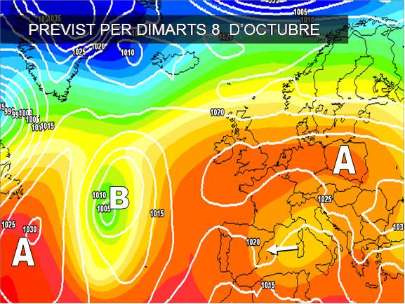 Els mapes del temps per a la propera setmana ens mostren com els vents dominants seran de llevant. Aixó juntament amb l'aire fred que hi ha a les capes altes ens depararà més nuvols i ruixats al llarg de la setmana