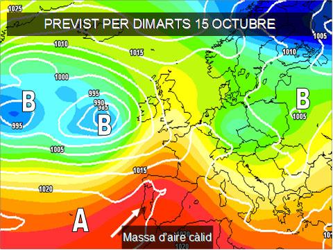 Els mapes del temps per a la propera setmana ens tornarà a afectar l'anticicló. A més a les capes altes de l'atmosféra ens arrivarà altra massa d'aire càlida del Nord d'À frica que farà pujar les temperatures.