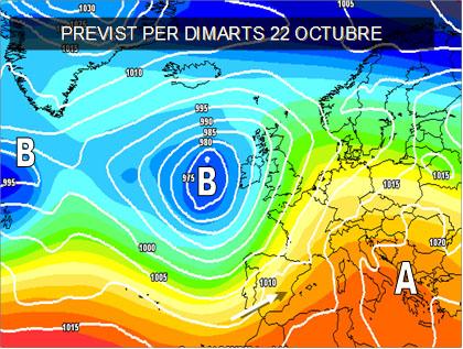 Els models *meteorologicos per la pròxima setmana, continuen mostrant situacions de ponent. Fronts de núvols que entren per Portugal i arriben molt afeblits al Mediterràni.