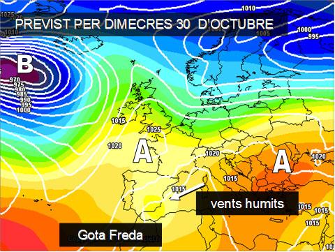 Els models meteorològics ens anuncien pluges importants en l'àrea mediterrània, entre dimecres 20 i dijous 3. La posició dels centres d'altes pressions serà fonamental perquè es pugua formar una gota freda que acabe deixant importants precipitacions.