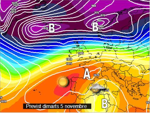 Els models meteorològics  continuen mostrant un posicionament quasi continu de les altes pressions sobre la península, encara que una posició més al nord del seu centre, podría generar algunes pluges a la fi de setmana.
