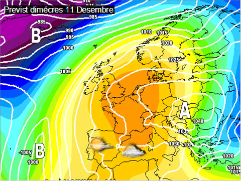 En els mapes previstos per a la setmana propera es pot veure com les altes pressions afectaran bona part de la península, tot i que al mediterràni el vent de llevant farà que tingam alguns núvols a la costa.