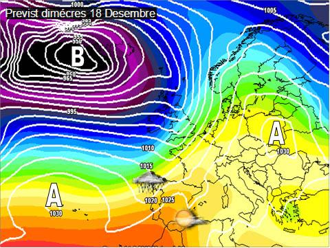 En els mapes previstos per a la setmana propera es pot veure com les altes pressions afectaran bona part del continent europeu, a la península ens arrivaran vents de ponent que deixaran pluges a l'àrea de Galícia mentre que a la façana mediterrànea tindrem més sol.