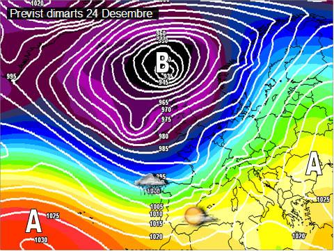 En els mapes previstos per a la setmana propera, dies de Nadal, es pot vore com els vents seran els protagonistes. Vents de ponent i mestral que faran suavitzar les temperatures i que no ens portarà pluja.