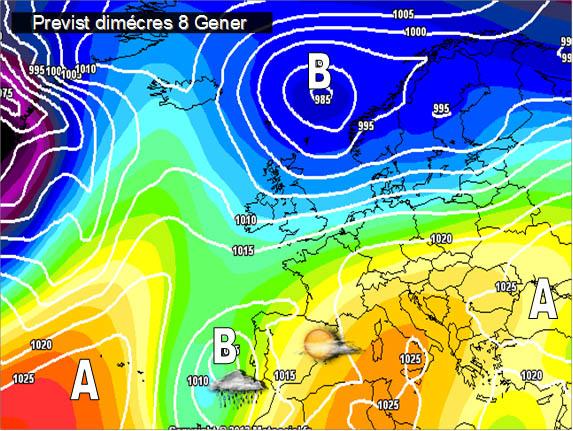 En els mapes previstos per a la setmana propera, caldrà seguir la evolució de l'oratge de cara a últims de setmana. Podrien arrivar pluges a les nostres terres.