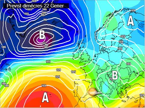 En els mapes previstos per a la setmana propera, es pot vore com l'anticicló del atlàntic ens anirà afectant estabilitzant l'oratge per a mitjans de setmana. Cal destacar els vents que bufaran entre mestral i ponent al llarg de la setmana.
