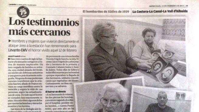 Artículo de prensa publicado en Levante EMV el día del 75 aniversario