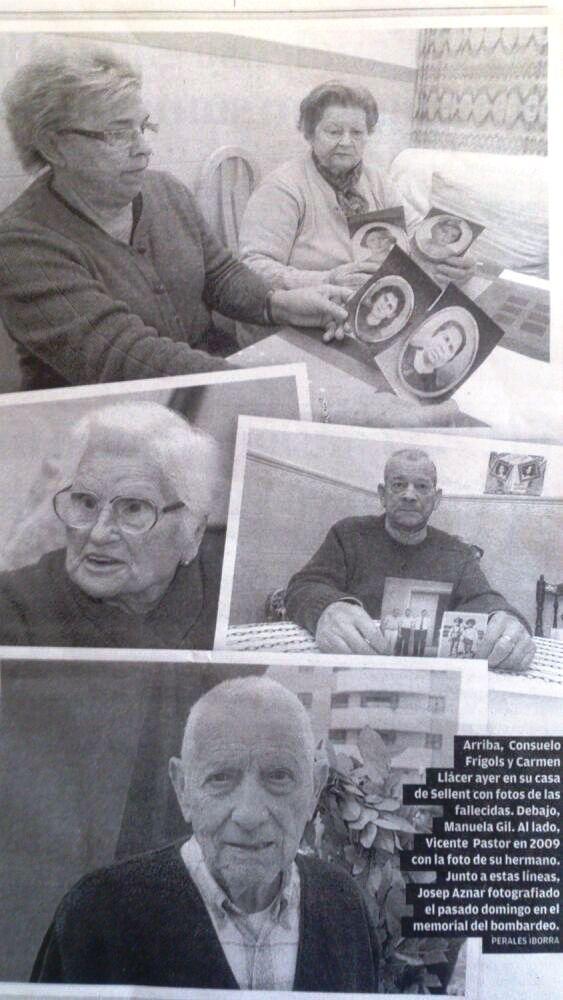 Fotografías de algunos familiares de las víctimas del bombardeo