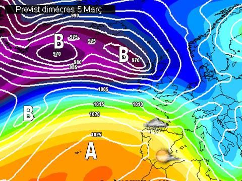 En els mapes previstos per a la setmana propera, es pot vore com les altes pressions del atlàntic acabaran per afectar la península. Això garantirà una segona part de la setmana amb bon oratge també a les zones del nort on tanta pluja esta caient en estes darreres setmanes.