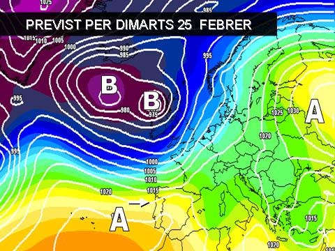 En els mapes previstos per a la setmana propera es pot veure com les altes pressions afectaran de nou bona part de la península.  De momento oratge dominat per els vents terrals i absència de pluges.