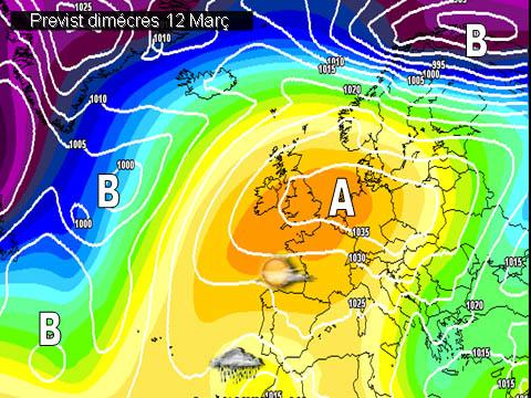 En els mapes previstos per a la setmana propera, es pot vore com l'anticicló del atlàntic es situarà cap a les Illes Britàniques on desde eixa mateixa posció ens enviarà vents de llevant i alguns núvols.
