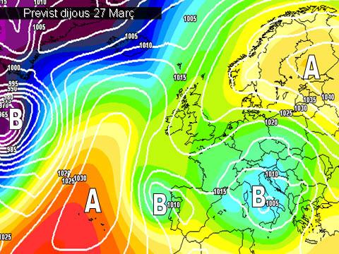 En els mapes previstos per a la setmana propera, es pot vore com a partir de dijous i amb vistes a l'últim cap de setmana de març, sembla que la pluja i el mal oratge serán els protagonistes amb temperatures més baixes per a l'época.