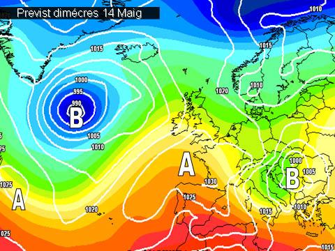 En els mapes de previssió per a la propera setmana, es veu com l'anticiclò s'acostarà més cap a nosaltres donant-nos un oratge sec i assolejat.