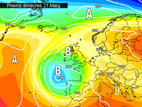 En els mapes de previssió per a la propera setmana, es veu com la major part de la península estarà afectada per una borrasca. Açí a casa nostra els vents ens vindran de ponent i per tant poca pluja esperarem.
