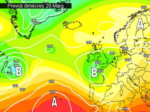 En els mapes de previssió per a la propera setmana, es veu com la península estarà afectada per les baixes pressions. A la nostra comarca la inestabilitat es traduirà en la possibilitat de algunes tronades durant les vesprades.