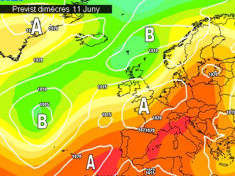 En els mapes de previssió per a la propera setmana,  ens mostren l'arribada  d'una massa d'aire càlid procedent del nord d'Àfrica. Setmana  calorosa i estable.
