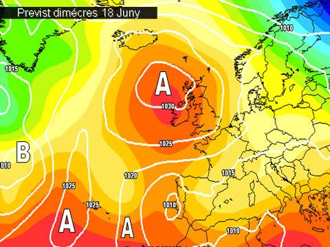En els mapes de previssió per a la propera setmana,  ens mostren l'arribada  d'una massa d'aire mes fresda i inestable que mantindrà l'oratge insegur al llarg de la setmana.