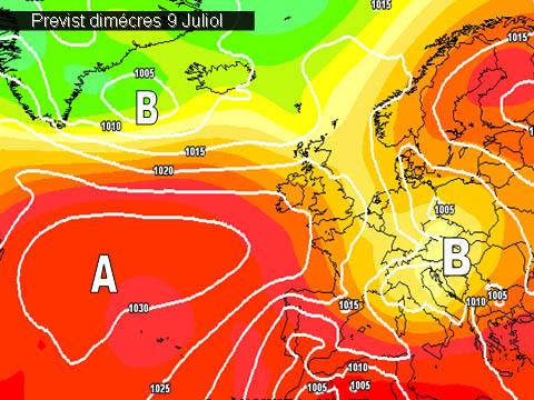 En els mapes de previssió per a la propera setmana,  ens mostren l'arribada  del anticicló que farà pujar els termómetres. L'oratge es mostrarà prou estable a partir de dimarts.