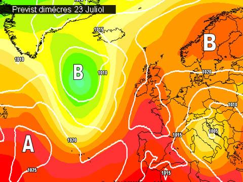 En els mapes de previssió per a la propera setmana, ens mostren com seguirem dins de les altes pressions a més de estar afectats per una masa d'aire càlida que mantindrà altes les temperatures..