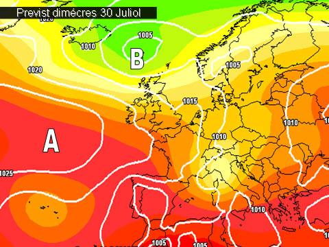 En els mapes de previssió per a la propera setmana,  ens mostren inestabilitat cap al nord-est de la península. Açi poca cosa ens arrivarà excepte la calor que continuarà apretant.