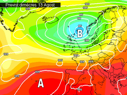 En els mapes de previssió per a la propera setmana,  ens mostren com les altes pressions continuaran afectant la península. A més la calor tornarà a intensificarse amb la arrivada de una masa d'aire càlida en les capes altes de l'atmòsfera.