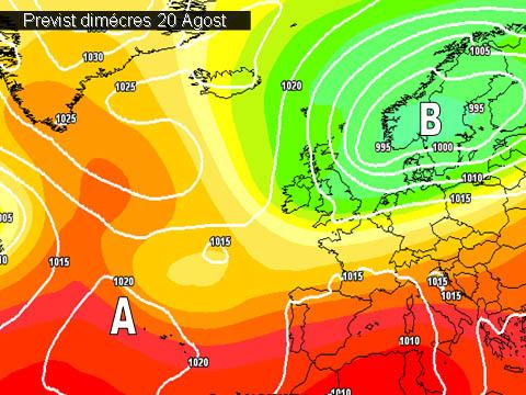 En els mapes de previssió per a la propera setmana,  ens mostren una situació en la que la estabilitat ens proporcionarà un oratge sec i assolejat. Amb unes temperatures que tendiran a pujar.
