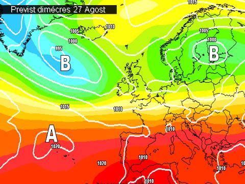 En els mapes de previssió per a la propera setmana,  ens mostren una situació en la que la es preveu que les altes pressions tornen a afectar-nos i fer pujar les temperatures.
