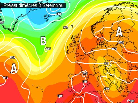 En els mapes de previssió per a la propera setmana,  poca cosa ens mostren, els anticiclons continuaran afectant la península i sobretot les mases d'aire càlides d'Africa encara ens afectaran.
