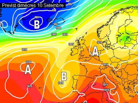 En els mapes de previssió per a la propera setmana,  començen a configurar-se canvis en l'oratge. Les borrasques podrán arrivar amb més facilitat a la península.